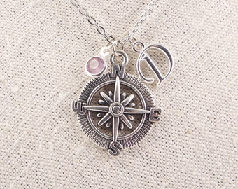 Compass necklace Personalized necklace Friendship jewelry  Travel charm necklace Nautical themed Silver compass College grad gift for her