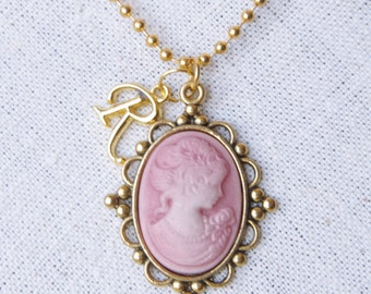 Victorian cameo necklace Personalized necklace for mom Initial necklace Gold cameo necklace Mothers day gift for Grandma Silhouette cameo