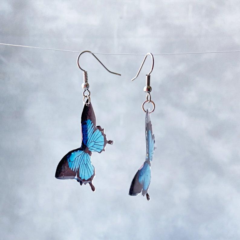 Blue Butterflies Wings Drop Earrings Statement Jewelry Gift for Women Fairy Wing Earrings Animal Lover gift for her