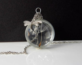 Dandelion necklace Real dandelion jewelry Dandelion seed Mothers gift for her Terrarium necklace Make a wish necklace Resin pendant Charm