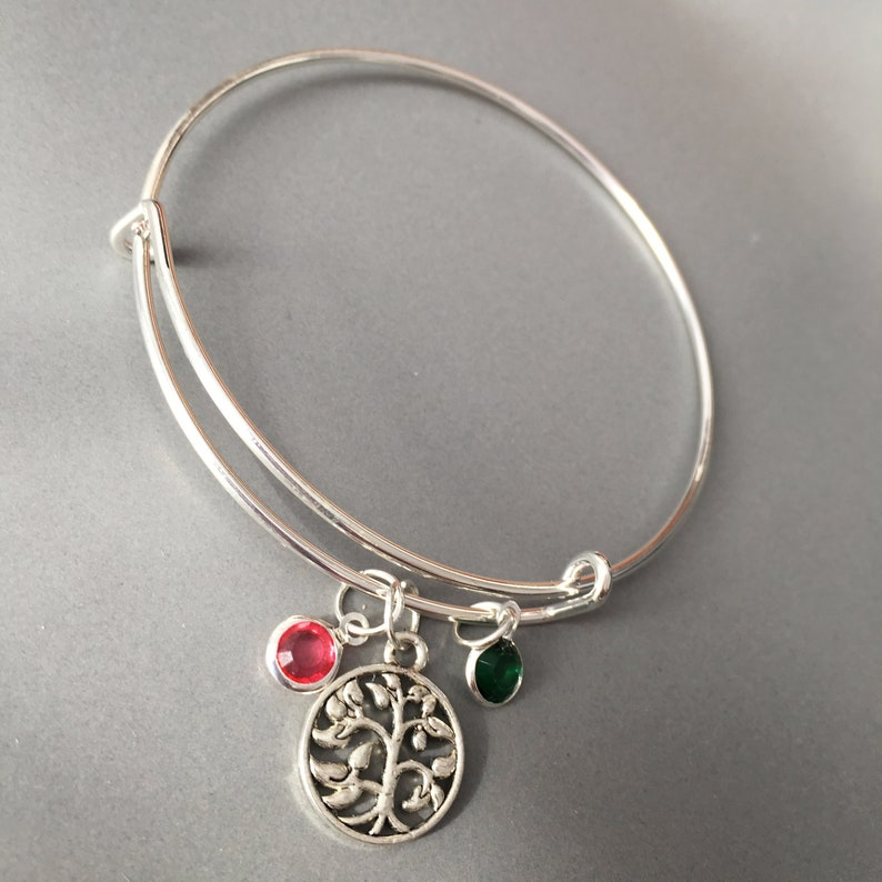 Family tree birthstone bracelet Personalized Jewelry Mom Bracelet Kids Birthstones Charm Bangle Mothers day gift for mom Grandmother gift