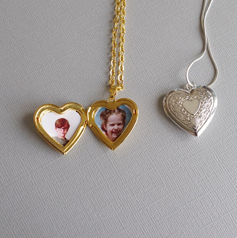 Necklace. Personalised Photo//Text//Picture Engraved Large Flared Heart Pendant