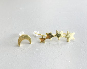 Crescent Moon Stud and Stars Ear Climber Mismatched stud earrings Asymmetrical Mix and match small star Unique gifts for women friends