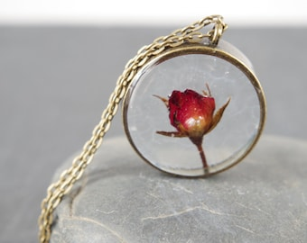 Real rose necklace Real Flower Jewelry Red Rose Pendants Dried flower necklace Botanical necklace Rose jewelry Romantic Mothers day gift mom