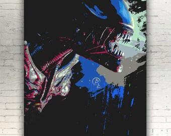 Poster Alien Xenomorph E David Handmade Graffiti Street Art Artwork