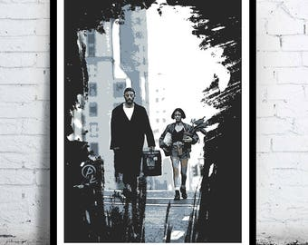 Léon - portrait - alternative movie poster / print minimalist draw paint Leon Jean Reno Natalie Portman Mathilda Luc Besson the professional
