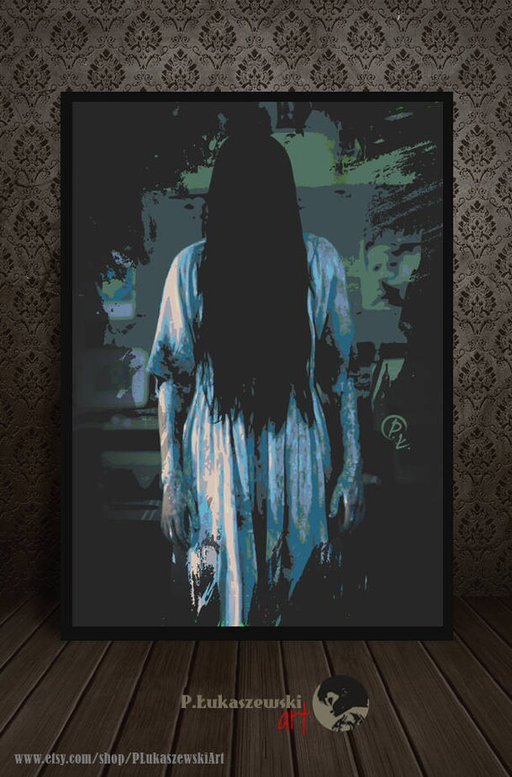 THE RING - portrait - alternative movie poster print minimalist pop art  draw paint horror gore 2002 girl