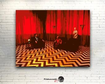 """TWIN PEAKS - canvas - David Lynch - artwork print on cotton canvas 16""""x12""""  [ Lara Flynn Boyle Madchen Amick David Bowie Sherilyn Fenn ]"""