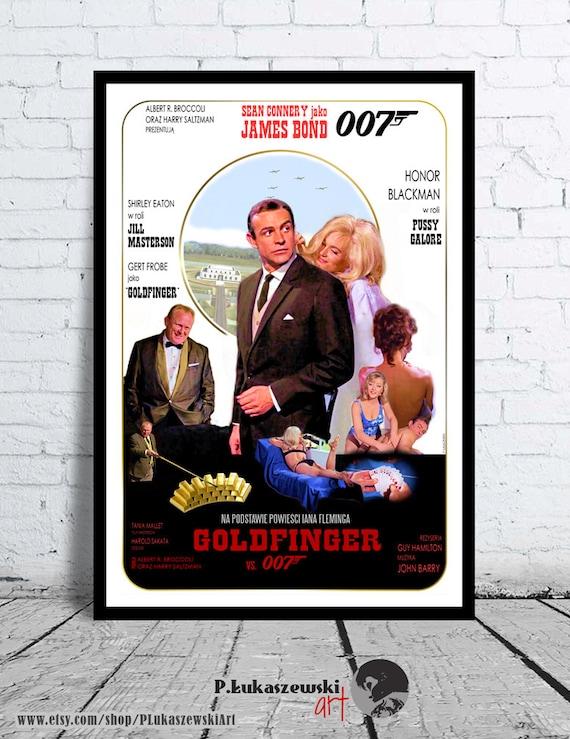 James Bond Goldfinger Plakaty Filmowedruk Sean Connery Etsy