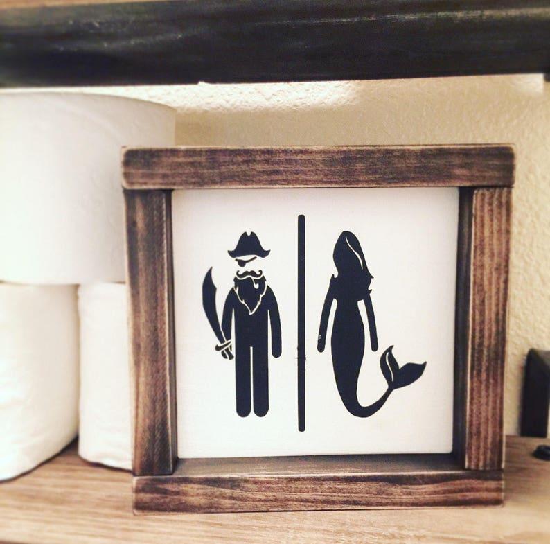 image 0 ... & Nautical Bathroom Decor Mermaid Sign Pirate Sign Bathroom | Etsy
