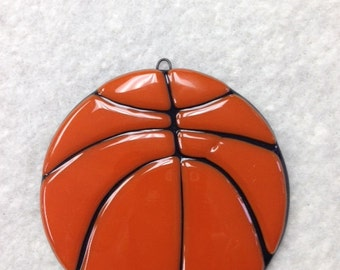 "Basketball Fused Glass Ornament 4""Diameter"