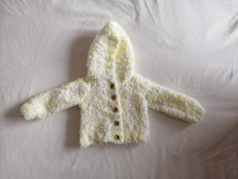 gorgeous hand knitted chunky fluffy hooded jacket set 0-3 3-6  month baby//reborn