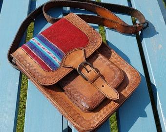 Handtooled Brown Leather Bag from Ecuador – Bohemian bag – ethnic pattern - Crossbody Bag / Shoulder Bag - festival bag - urban boho