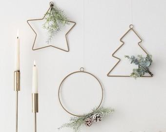 3 Hanging Christmas Decorations, Christmas Wreath with Foliage, Christmas Wall Decor, Holiday Wreath, Christmas Ornaments, Christmas Party
