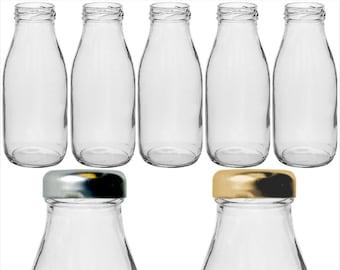 4 Mini glass bottles with screw on lids GB73