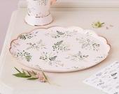 8 Floral Paper Plates, Rose Gold Plates, Tea Party Plates, Floral Party Supplies, Baby Shower Plates, Bridal Shower Plates, Birthday Plates