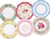 12 Vintage Floral Paper Plates, Afternoon Tea Party Plates, Floral Party Supplies, Baby Shower Plates, Bridal Shower Plates, Birthday Plates