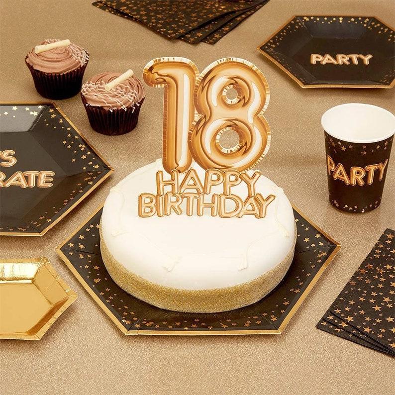 18th Birthday Gold Cake Topper