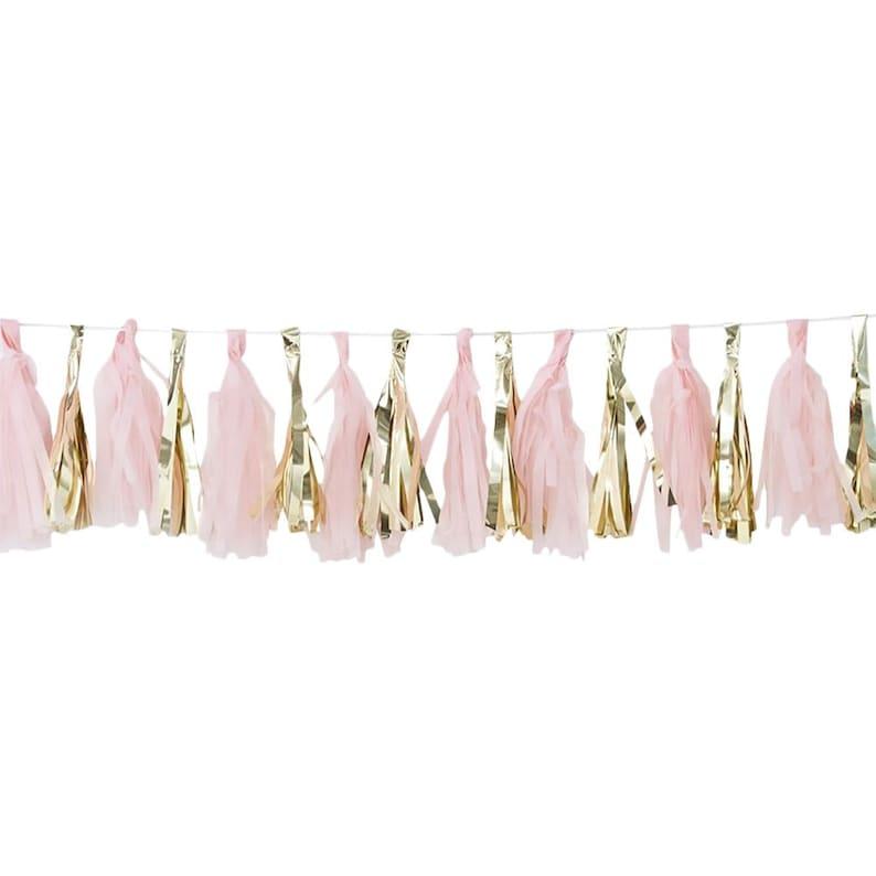 Girls Birthday Bunting Pink Party Decorations Hen Party Decor Girls Baby Shower Baby Shower Decorations 2m Pink /& Gold Tassel Garland