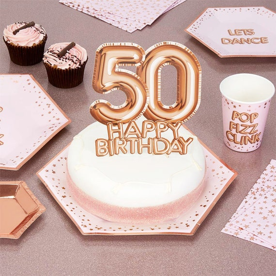 Incredible Rose Gold 50Th Birthday Cake Topper Birthday Cake Topper Etsy Personalised Birthday Cards Bromeletsinfo