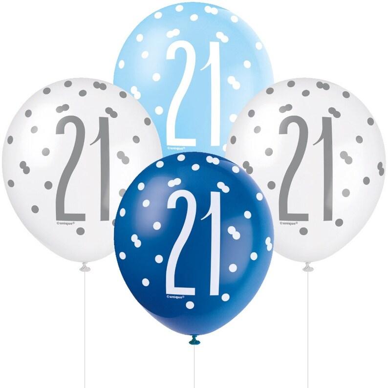 21 Birthday Decorations Birthday Balloons 6 Blue /& Silver 21st Birthday Balloons 21st Birthday Decorations 21st Birthday Party Balloons
