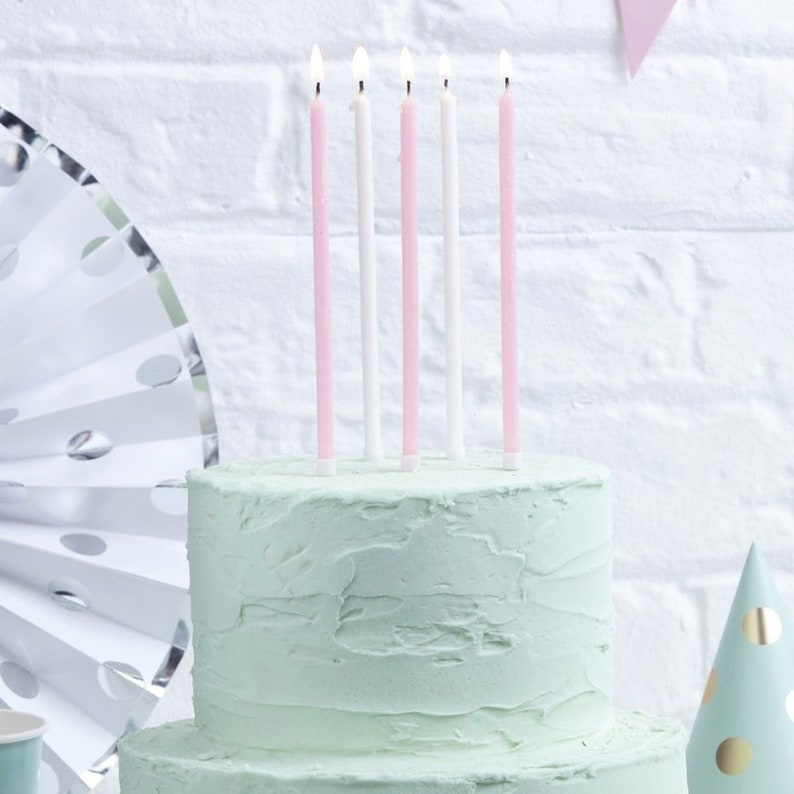 Cake Candles Party Candles Birthday Cake Toppers Birthday Party Candles Girls Birthday Party Decorations 24 Pink /& White Tall Candles