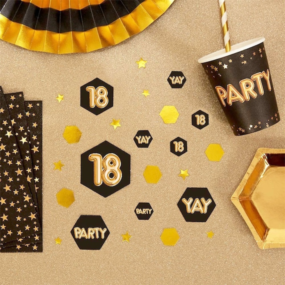 Black Gold 18th Birthday Table Scatter Party