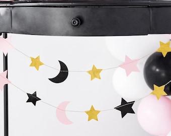 Star Moon Garland, Gold Star Garland, Halloween Decorations, Halloween Bunting, Birthday Decor, Baby Shower Decor, Nursery Garland Decor