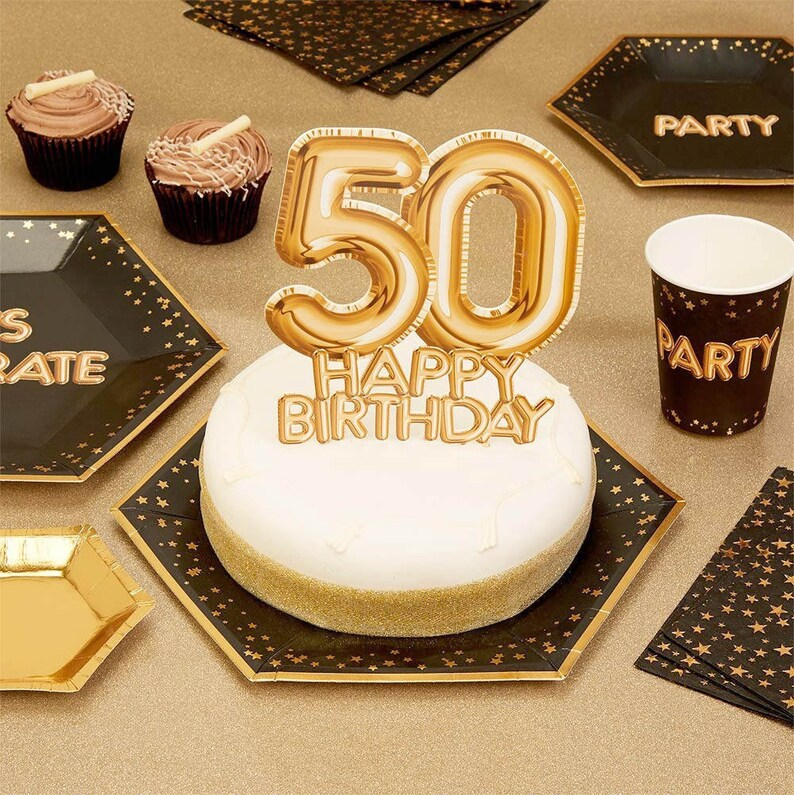 50th Birthday Gold Cake Topper