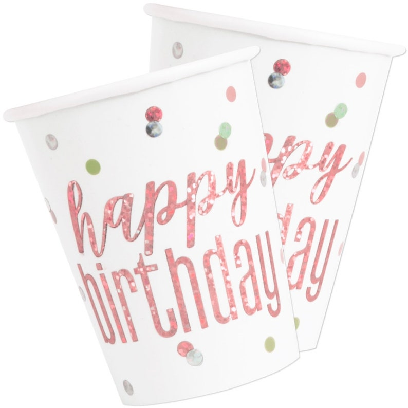 Birthday Cups Rose Gold Paper Cups Birthday Tableware Disposable Cups Rose Gold Party Cups 8 Happy Birthday Party Cups Party Supplies
