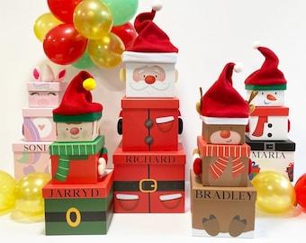 Personalised Christmas Gift Set Boxes, Christmas Gift Box Set, Stacking Gift Boxes, Christmas Present Boxes, Personalised Gift Box Wrapping