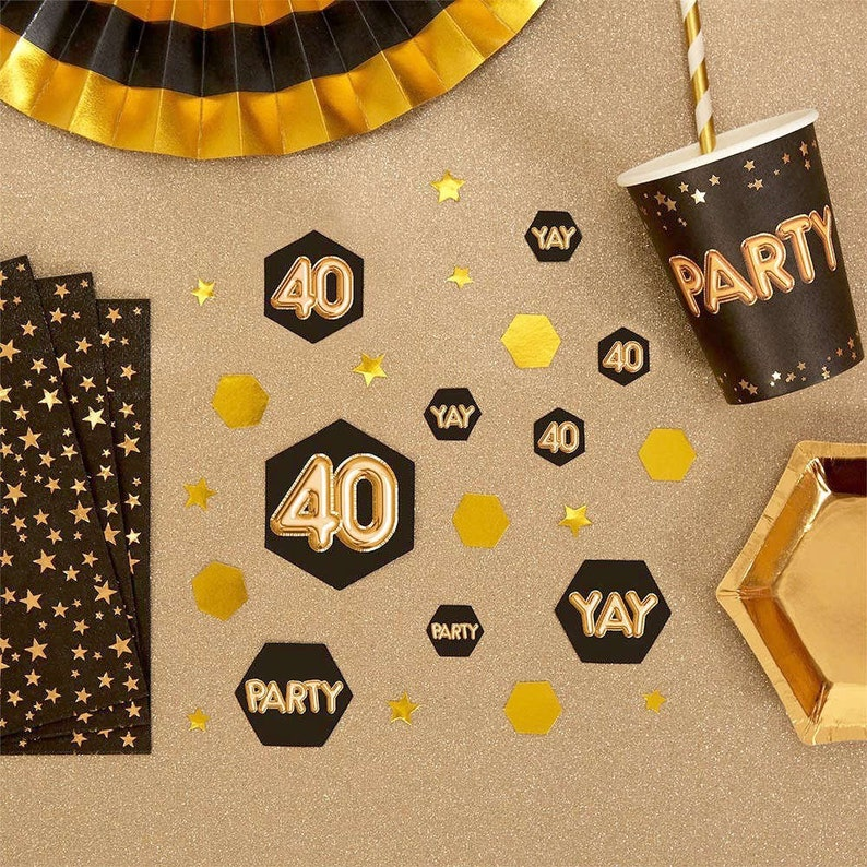 Black Gold 40th Birthday Table Scatter Party
