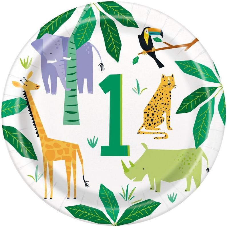 1st Birthday Party Decoration 1st Birthday Plates Animal Safari Birthday Jungle Party Supplies 8 Animal Party Plates Animal Theme Party
