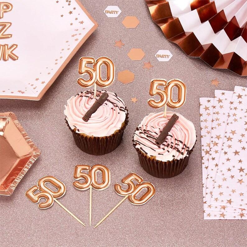 Rose Gold 50th Birthday Food Picks Pack Of 20 Happy Etsy