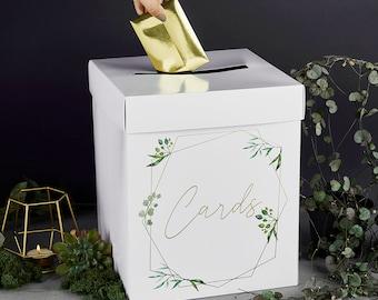 Botanical Wedding Post Box, Wedding Reception Card Box, Boho Wedding Decor, Wedding Wishing Well, Gold Wedding Card Box, Wedding Supplies
