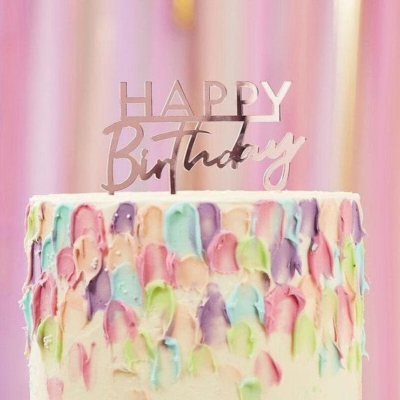 Birthday Cake Decorations Happy Birthday Party Decorations Pink HAPPY BIRTHDAY Cake Topper
