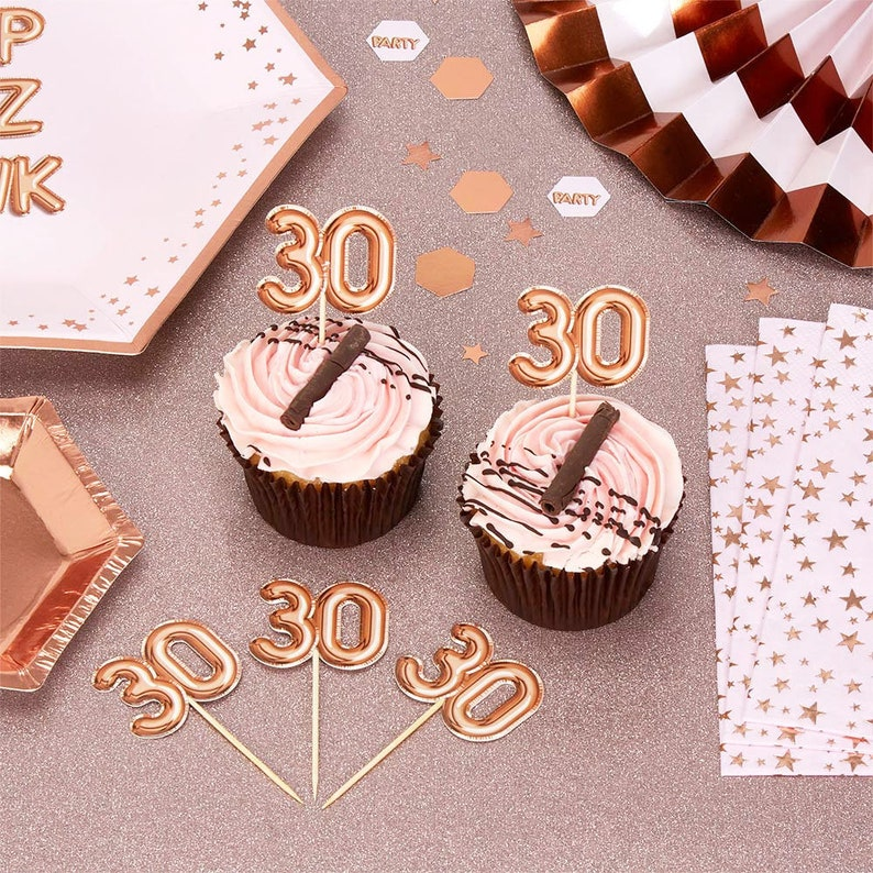 Rose Gold 30th Birthday Food Picks Pack Of 20 Happy