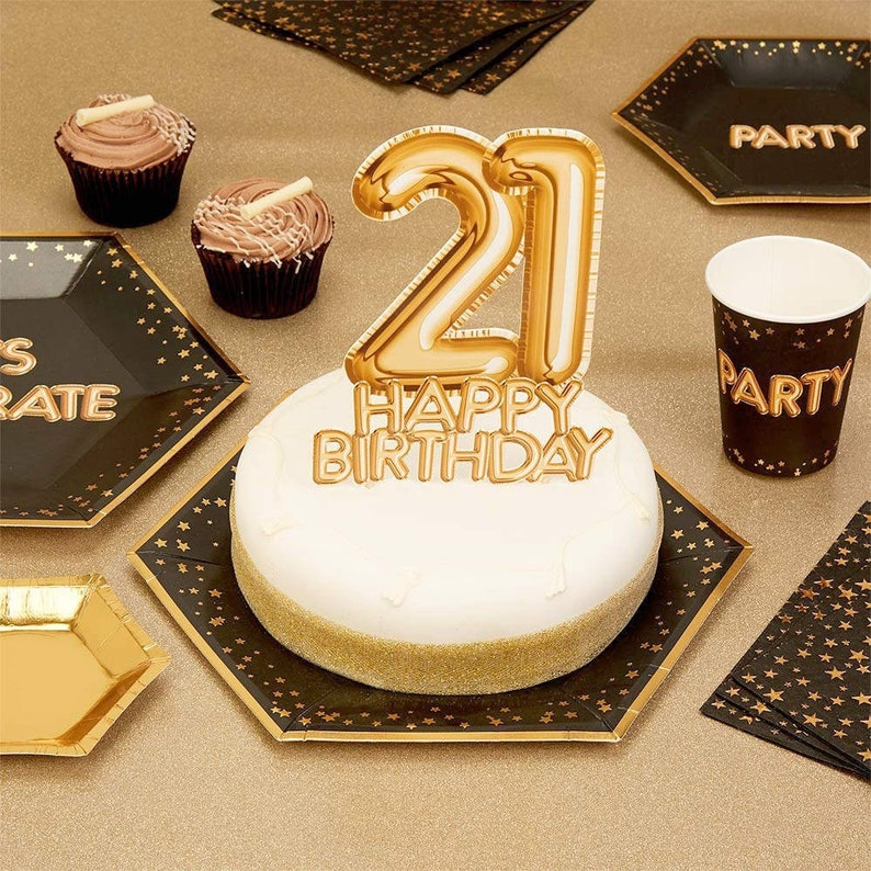 21st Birthday Gold Cake Topper