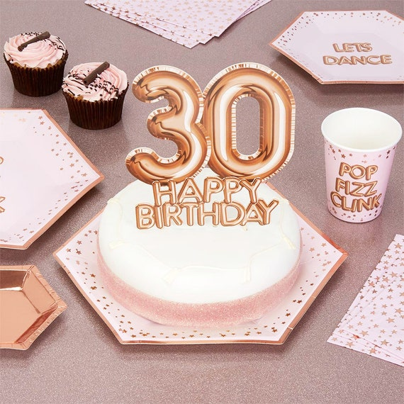 Miraculous Rose Gold 30Th Birthday Cake Topper Birthday Cake Topper Etsy Personalised Birthday Cards Cominlily Jamesorg
