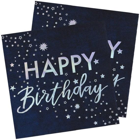 16 Midnight Blue Happy Birthday Paper Napkins Birthday Party Napkins Birthday Napkins Party Tableware Supplies Iridescent Party Napkins