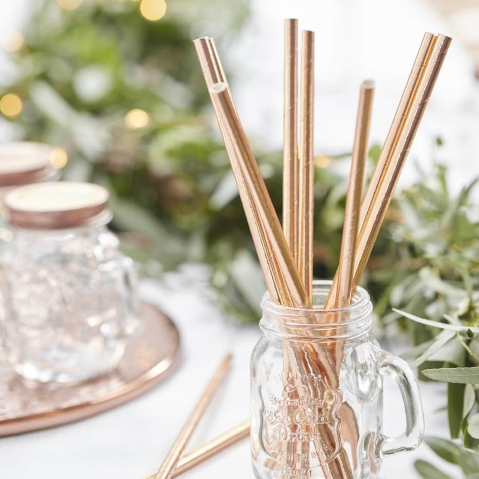 Strohhalme Rosegold Hochzeit