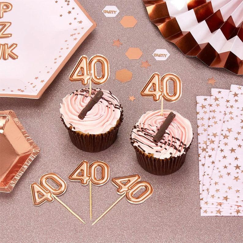 Rose Gold 40th Birthday Food Picks