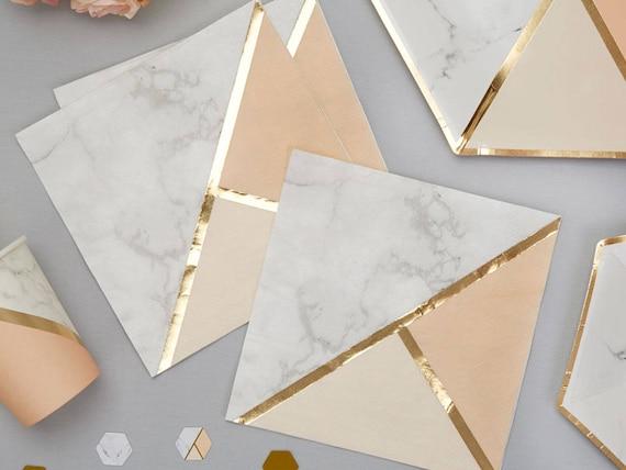 RANGE IN SHOP 33cm ROSE GOLD METALLIC STAR Christmas Paper NAPKINS -Xmas Party