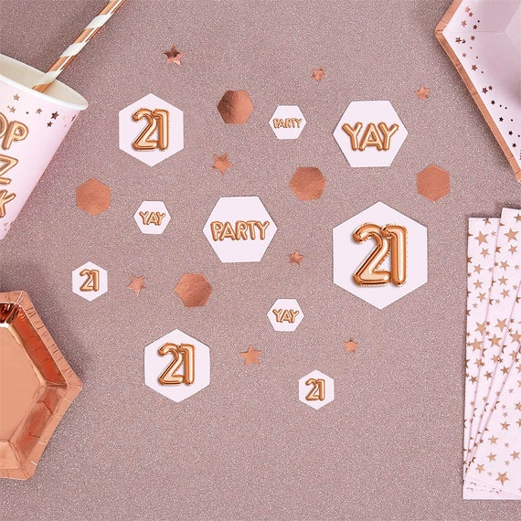 Pink Rose Gold 21st Birthday Table Confetti Scatter