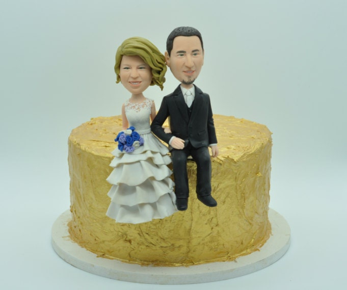 Wedding cake topper/Bobble heads custom funny cartoon figure | Etsy