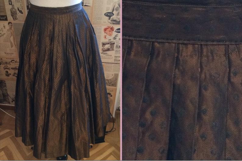 1950s full width pleated satin jacquard dot bronze colored skirt W25,5