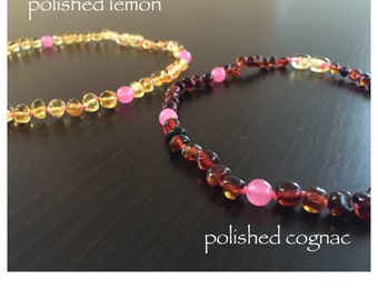Baltic Amber Teething Necklace - PINK
