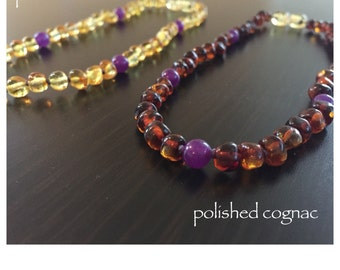 Baltic Amber Teething Necklace - PURPLE