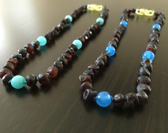 Baltic Amber Teething Necklace - RAW CHERRY