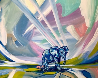Elephant Abstract Art Painting